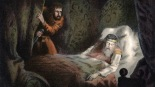 UNSPECIFIED - CIRCA 1754: Shakespeare Macbeth first performed c1606. Macbeth about to murder the sleeping Duncan. Act 2 Sc.2. Chromolithograph c1858 (Photo by Universal History Archive/Getty Images)